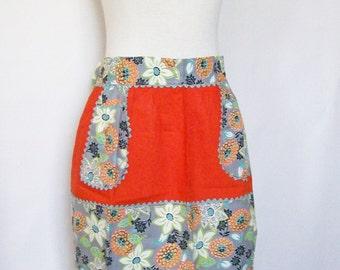 Half Apron Orange Cotton Party Hostess Kitschy Kitchen 1950s