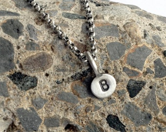 Personalized Necklace Tiny Initial Tag Stamped Sterling Silver Paddle Tag Charm