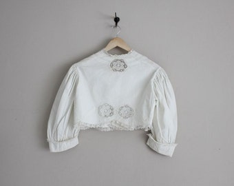 1900s wedding jacket / bolero wedding jacket / white cotton lace bolero
