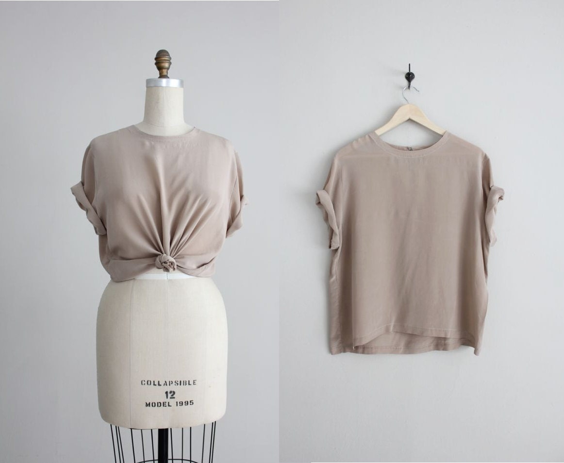 New Wyatt Womens Cream And Taupe Chiffon Colorblock Cutout Back Blouse