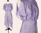 Vintage 70s Dress / Purple Floral Disco Dress