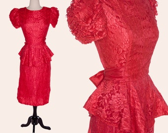 Vintage 70s Red Lace Dress / Lace Peplum Dress / Red Cocktail Dress