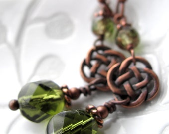 Celtic Knot Earrings, Irish Clover Green Earrings, Saint St Patricks Day Jewelry Gift, Vintage Style Irish Jewelry, Luck of Irish, Ireland