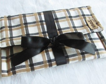 ON SALE Top Side Caramel and Black Plaid Clutch with Black Ribbon