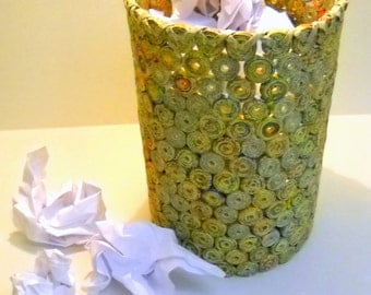 Upcycled  Waste Paper Basket Repurposed from the Telephone Book Yellow Pages