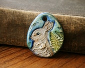 White Rabbit Polymer Clay Pendant with Hand Painted Woodland Fern Designs