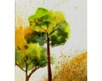 ACEO Mini Painting, Watercolor Trees, Tiny Leaves Blowing, Cute, Whimsical Autumn Art