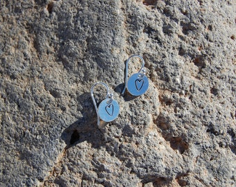 Simple Sterling Silver Stamped Circle Earrings
