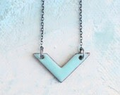 Chevron Necklace - Enamel Chevron in Robin Egg Blue - geometric necklace - light blue necklace - everyday necklace - modern jewelry