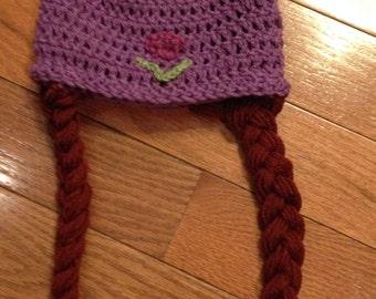 Anna from Frozen Beanie Skullcap Hat with braids-all sizes newborn through adult