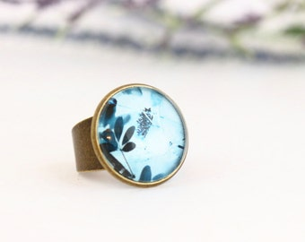 Statement Ring, Blue Ring, Photographic Print Ring, Glass Ring, Brass Ring, Adjustable Ring, Gift For Woman, Valentines Gift
