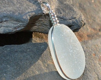 Mermaid Tear - Soft Seafoam Sea Glass Pendant Necklace - As Featured In COASTAL LIVING MAGAZINE