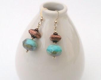 Aqua Glass and Copper Earrings