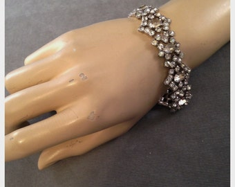 Beautiful Signed Kramer Sterling, Rhinestone Bracelet, Perfect for the Bride, Wedding,