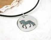 Fairytale Horse Necklace pendant on black leather cord cantering friesian equestrian jewelry art jewelry handmade Fine Silver