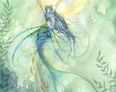 Mermaid Art Print - Angel Fish Seashells, Princess Crown