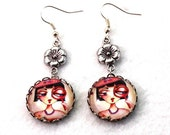 Spy Girl Earrings, Silver Dangle Drop Earrings, Storybook Art Print Image Bow or Flower Charm Earrings, Red Pink Girl Friend Teen Woman Gift
