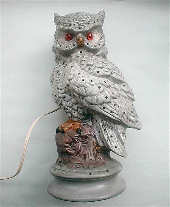 Ceramic Lighted Barn Owl Lamp Vintage 60s Pierced Table Night