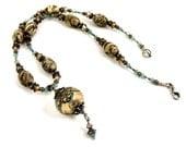 Blue Necklace, Brown Necklace, Lampwork Necklace, Zebra Jasper Necklace, Gemstone Necklace, Crystal Beaded Jewelry
