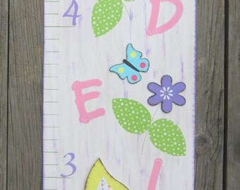 Wood Growth Chart LOVE BIRDS Love Song - Original Hand Painted Wood Keepsake - Personalized