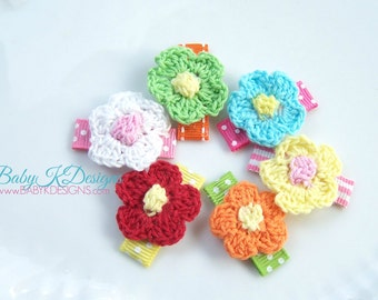 Baby K Designs Crochet Small Flower Baby Clip /Snap Clips or Girls Alligator Clip - You Pick from 15 Colors and 2 Size Pink Purple Yellow