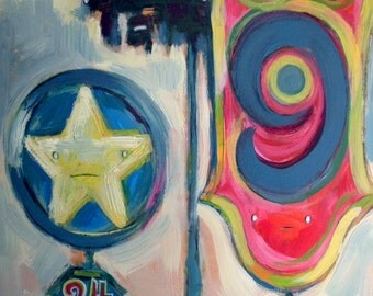 Truck Stop, Motel 9 & Cell Phone Tower Original Pop Painting by Mark Mattson
