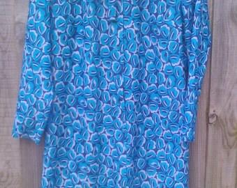 Size 16 80s 1980s Vintage Dress Green, Blue