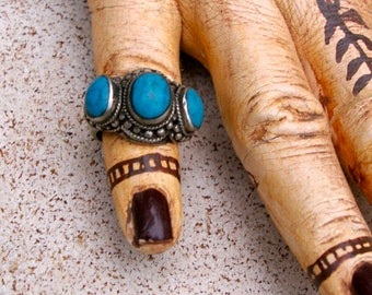 Vintage Tribal Ring- Afghanistan Turquoise #13, Size 9
