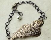 Wing Bracelet, Antiqued Wing Cuff Bracelet, Vintage Style Wing or Feather Bracelet, Angel Wing Jewelry, Heatherberry Jewelry