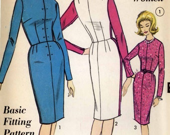 Basic Fitting pattern Dressmaking vintage sewing pattern Advance 3155 Bust 38 Retro 60s fitting pattern