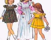 1970s Girls EMPIRE Dress or Jumper and Blouse Simplicity 6184 Vintage Sewing Pattern Girls Size 5 UNCUT