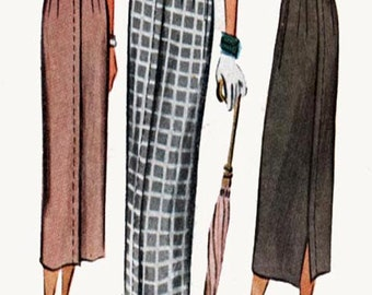1940s Wiggle Pencil Skirt with Back Saddle Stitched Tucks McCalls 7809 Vintage 40s Sewing Pattern Size Waist 28