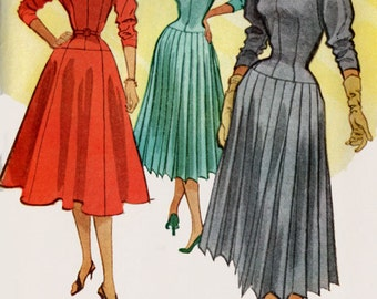 1950s ROCKABILLY Dress with Flared or Pleated Skirt McCalls 9108 with Stand up Collar Vintage Sewing Pattern Size 14 Bust 32 UNCUT