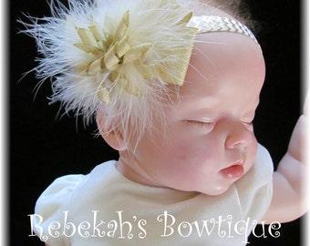 Gold Christmas Headband, Baby headband, Ivory Baby headband, Marabou Boa Feather, Newborn, Hair accessories, Chevron headband, Metallic bow