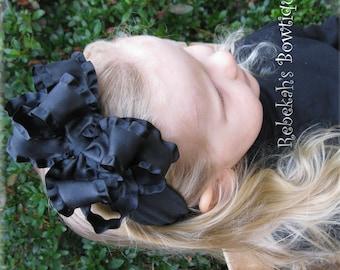 black baby headband, double ruffle hair bows, black hair bows, Halloween headband, pageant hair bow, hair bows, double ruffle headband, clip