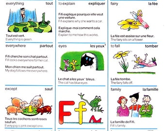 Alphabet Dictionary Page - The Letter E, The Letter F - 1986 Vintage English French Dictionary Book Page  - 10 x 7
