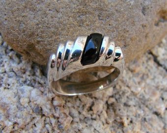 70% OFF Going Out of Business Sale.. Last One.. Jet - Sterling Silver Ring -Size 8.25