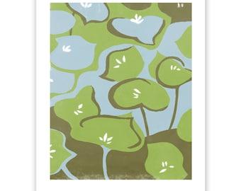 Miner's Lettuce Block Print Art Reproduction