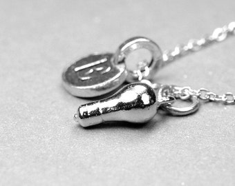 Light bulb Necklace, bulb charm, Silver pewter, initial necklace, initial hand stamped, personalized, monogram