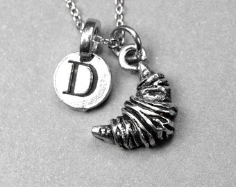 Croissant Necklace, croissant charm, pastry, antiqued, silver plated pewter, initial necklace, initial hand stamped, personalized, monogram