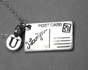 I love you Postcard Necklace, postcard charm, silver plated pewter, initial necklace, initial hand stamped, personalized, monogram