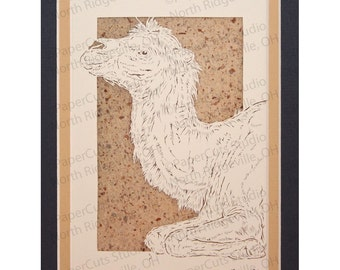 Bactrian Camel Papercutting, Handcut Original