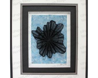 Radiate Paper Sculpture- Handcut Original, Watercolor, Framed
