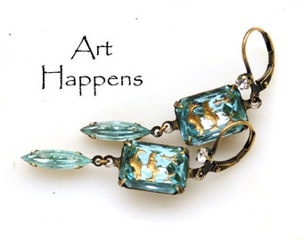 "Vintage Light Sapphire Blue Glass Jewels Earrings, Heiroglyphs Hieroglyphics, Aquatic, Fish, Dolphins, Tritan, Aquarius, ""Cave Drawings"""