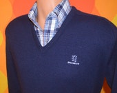 vintage 80s golf sweater PEUGEOT v-neck navy car luxury automobile france preppy Medium elite