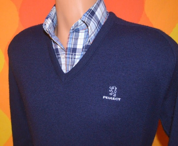 vintage 80s golf sweater PEUGEOT v-neck navy car luxury automobile france preppy Medium elite