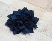 Navy Blue Flower Hair Clip - Lotus Blossom - With or Without Rhinestone Center