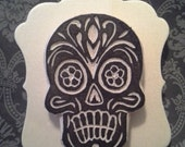 Day of the Dead Skull Handmade Rubber Stamp