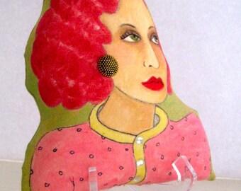 SOLANGE the PARIS WOMAN  Shaped Hand Painted Pillow, sculptured pillow, Paris, French, gift for woman, Paris woman, francophile gift, pink