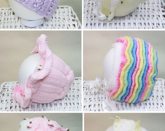 KNITTING PATTERN For Six Baby Hats, Bonnets, Beanie PDF 113 Digital Download
